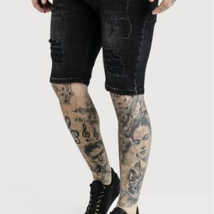 Distressed Skinny Shorts – Washed Black