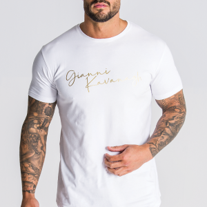 White Tee With Gold Logo