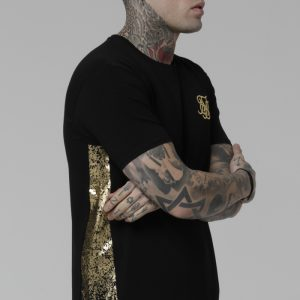 Foil Fade Panel Tee Black Gold
