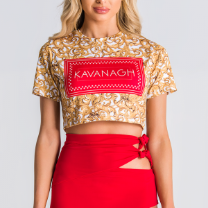 Gold Cropped Tee With Red Box Logo