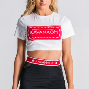 White Cropped Tee With Red Box Logo