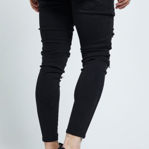 Skinny Distressed Jeans – Black