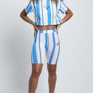 Stripe Cycle Shorts – Blue & White