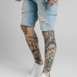 Distressed Skinny Shorts – Light Wash