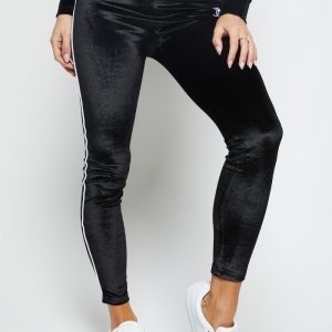 Velour Piping Leggings – Black